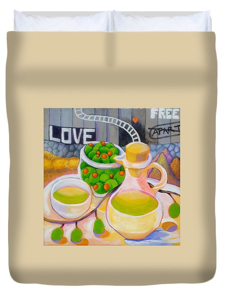 Olives Behind A Wall Duvet Cover