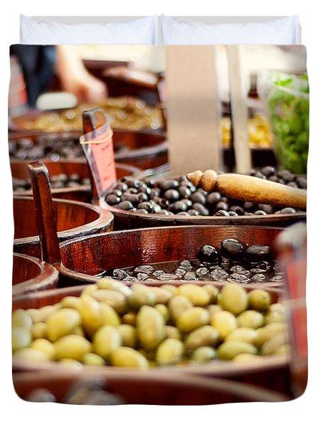 Olives In Barrels Duvet Cover by Ivy Ho