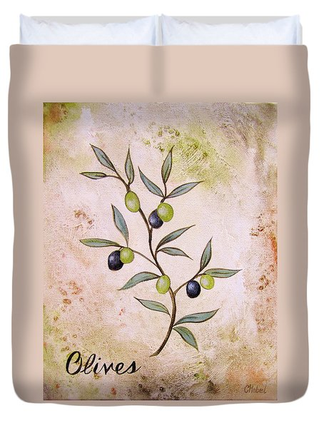 Olives Painting Duvet Cover