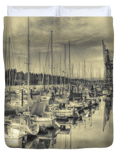 Duvet Cover featuring the photograph Olympia Marina 3 by Jean OKeeffe Macro Abundance Art