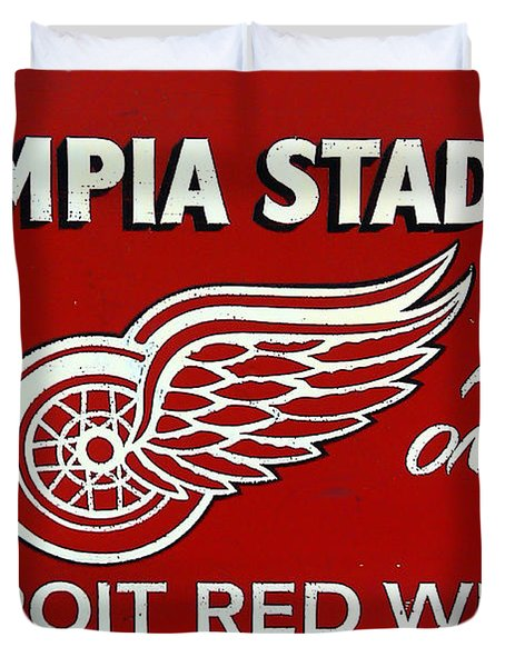 Olympia Stadium - Detroit Red Wings Sign Duvet Cover by Bill Cannon