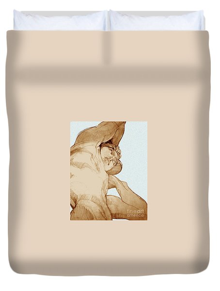 Duvet Cover featuring the drawing Olympic Athletics Discus Throw by Greta Corens