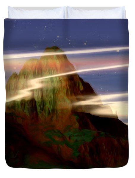 Duvet Cover featuring the painting Olympus by Pet Serrano