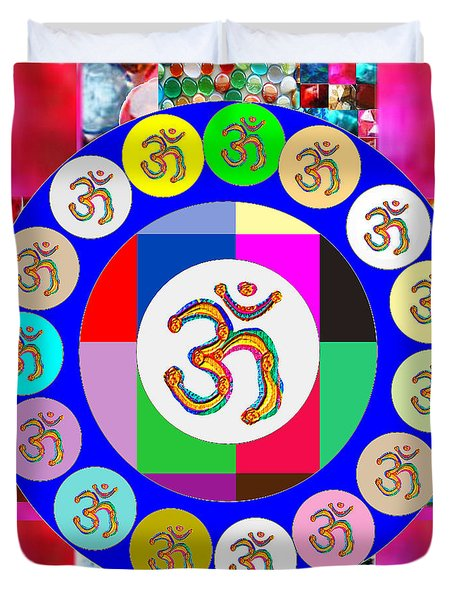 Om Mantra Dedication  Devotion Symbol Assembly By Artist N Reiki Healing Master Navinjoshi Duvet Cover