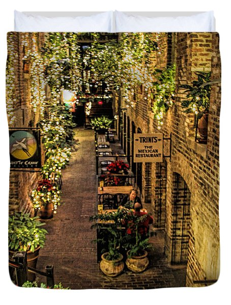Omaha's Old Market Passageway Duvet Cover by Elizabeth Winter