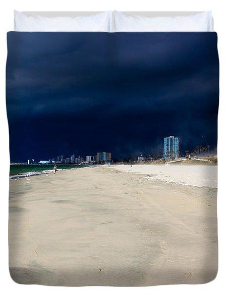 Ominous Sky Over Long Beach Duvet Cover by Heidi Smith