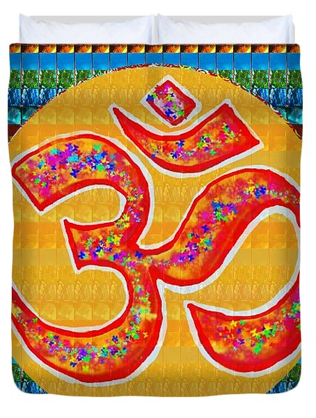 Ommantra Om Mantra Chant Yoga Meditation Spiritual Religion Sound  Navinjoshi  Rights Managed Images Duvet Cover