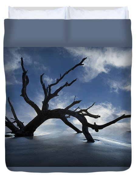 On A Misty Morning Duvet Cover by Debra and Dave Vanderlaan