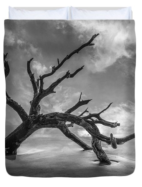 On A Misty Morning In Black And White Duvet Cover by Debra and Dave Vanderlaan