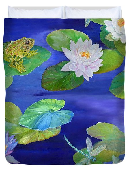 On Big Fresh Pond Duvet Cover by Kimberly McSparran