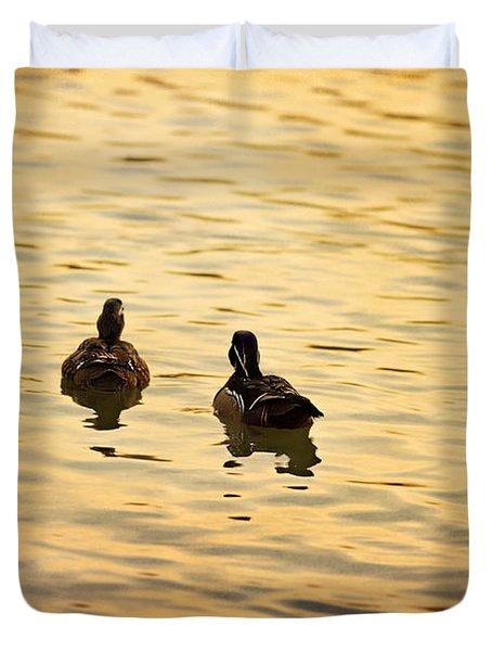 On Golden Pond Ducks Duvet Cover by Angela A Stanton