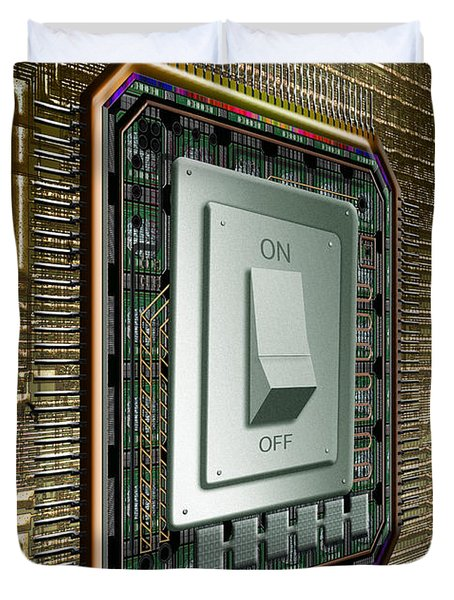 On Off Switch On Circuits Duvet Cover by Mike Agliolo