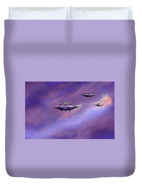 Duvet Cover featuring the painting Sky  Patrol by Hartmut Jager