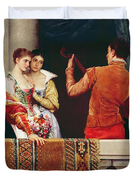 On The Balcony Duvet Cover by Eugen von Blaas