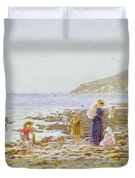 On The Beach Duvet Cover by Helen Allingham