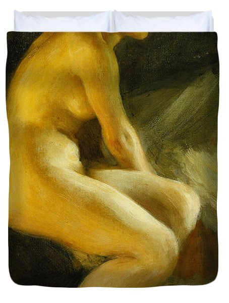 On The Bed Pa Sangkanten Duvet Cover by Anders Leonard Zorn