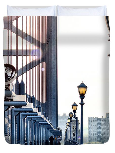 On The Ben Franklin Bridge Duvet Cover by Bill Cannon