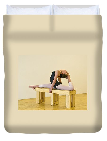 Practicing Ballet On The Bench Duvet Cover