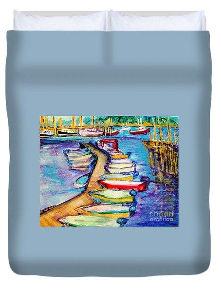 On The Boardwalk Duvet Cover by Helena Bebirian