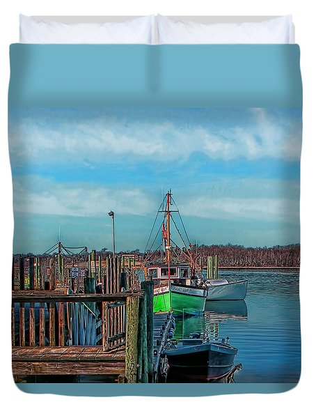 On The Dockside Bristol Rhode Island Duvet Cover