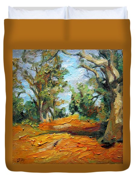 Duvet Cover featuring the painting On The Forest by Jieming Wang