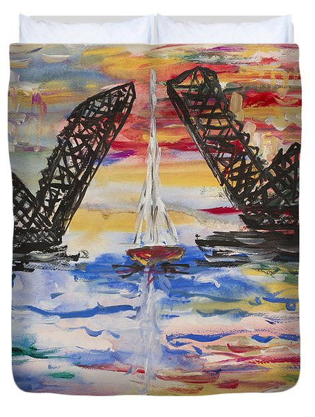 On The Hour. The Sailboat And The Steel Bridge Duvet Cover