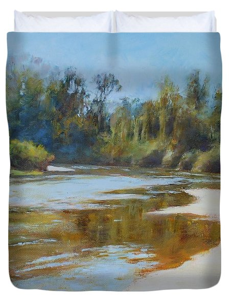 On The River Duvet Cover by Nancy Stutes