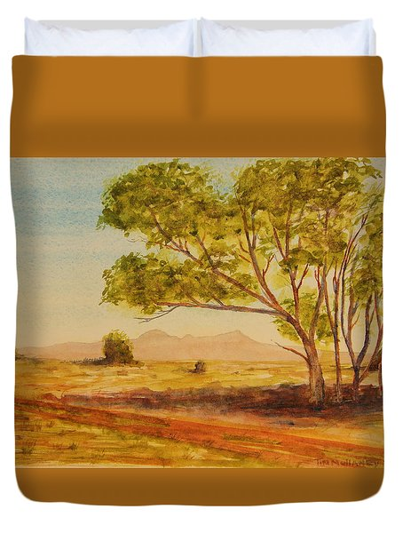 On The Road To Broken Hill Nsw Australia Duvet Cover by Tim Mullaney