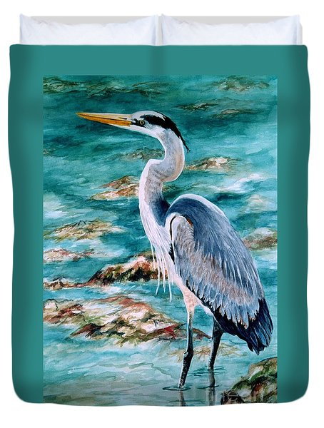 On The Rocks Great Blue Heron Duvet Cover