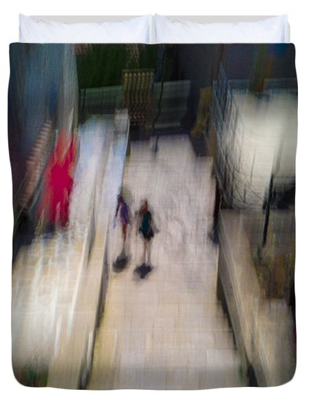 Duvet Cover featuring the photograph On The Stairs by Alex Lapidus