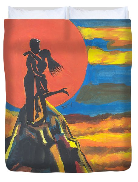 On The Summit Of Love Duvet Cover by Emmanuel Baliyanga