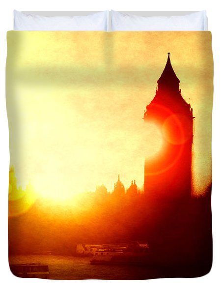 Duvet Cover featuring the digital art Big Ben On The Thames by Fine Art By Andrew David
