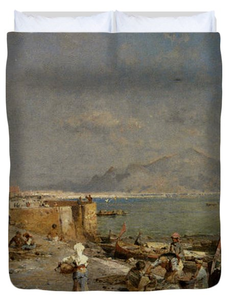 On The Waterfront At Palermo Duvet Cover by Franz Richard Unterberger