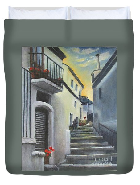 Duvet Cover featuring the painting On The Way To Mamma's House In Castelluccio Italy by Lucia Grilletto