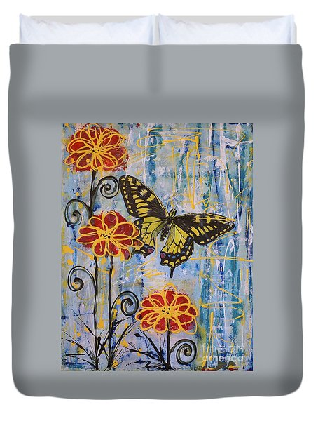 Duvet Cover featuring the painting On The Wings Of A Dream by Jane Chesnut