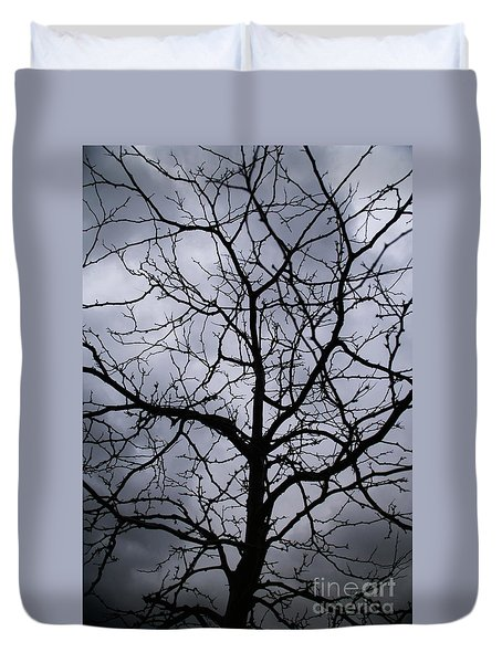On Their Shoulders Held The Sky Duvet Cover by Linda Shafer