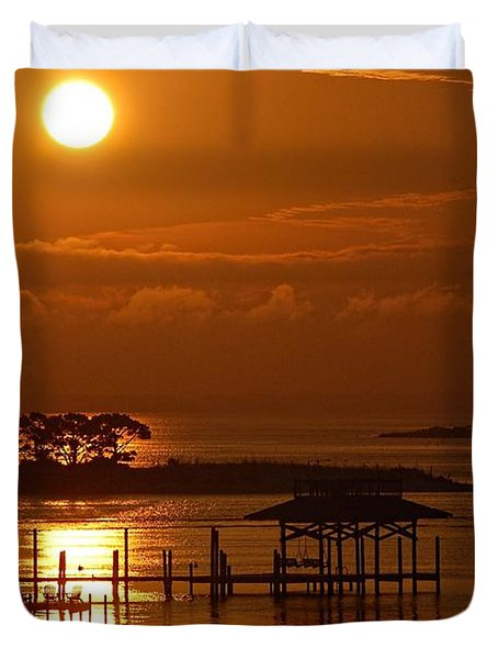 Duvet Cover featuring the digital art On Top Of Tacky Jacks Sunrise by Michael Thomas