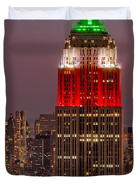 On Top Of The Rock Duvet Cover by Susan Candelario