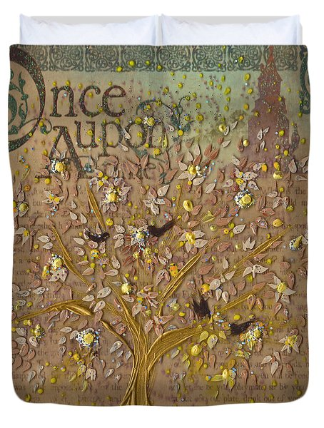 Once Upon A Golden Garden By Jrr Duvet Cover by First Star Art