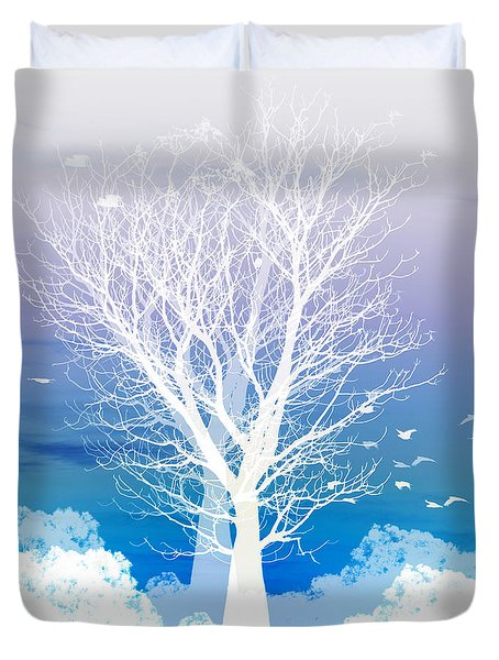 Duvet Cover featuring the photograph Once Upon A Moon Lit Night... by Holly Kempe