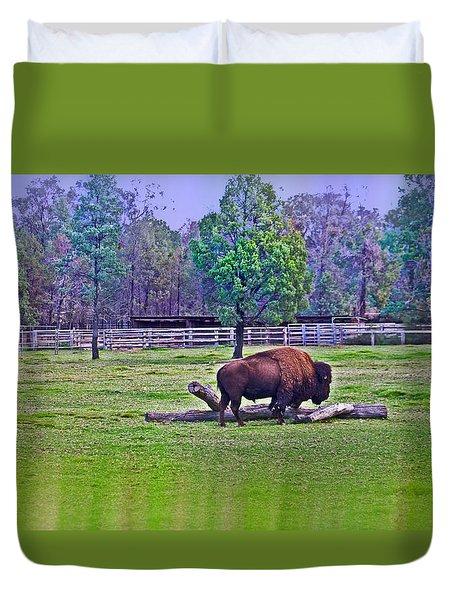 One Bison Family Duvet Cover by Miroslava Jurcik