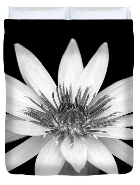 One Black And White Water Lily Duvet Cover by Sabrina L Ryan