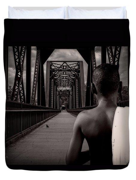One Boy One Pigeon One Bridge Duvet Cover by Bob Orsillo