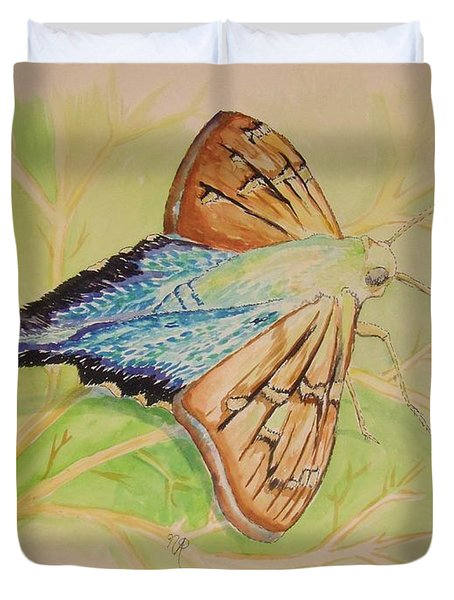 One Day In A Long-tailed Skipper Moth's Life Duvet Cover
