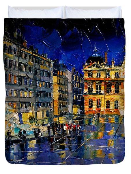 One Evening In Terreaux Square Lyon Duvet Cover