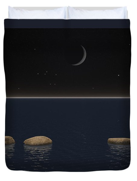 One Giant Leap For Mankind Duvet Cover by Phil Perkins