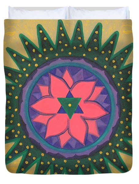 Duvet Cover featuring the painting One Gold Bindu by Mini Arora