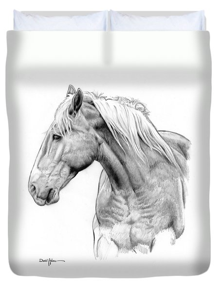 Da134 One Horse Daniel Adams  Duvet Cover