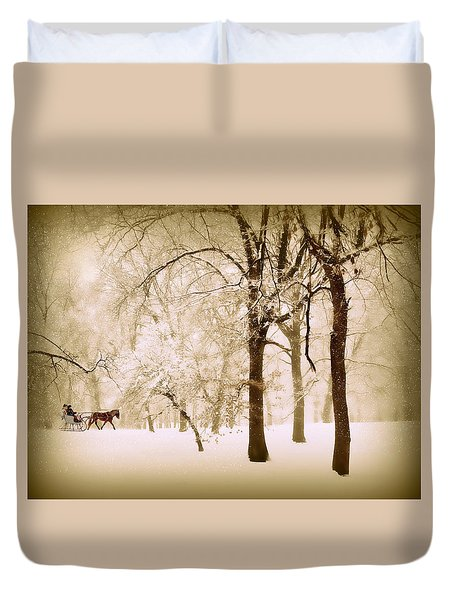 One Horse Open Sleigh Duvet Cover