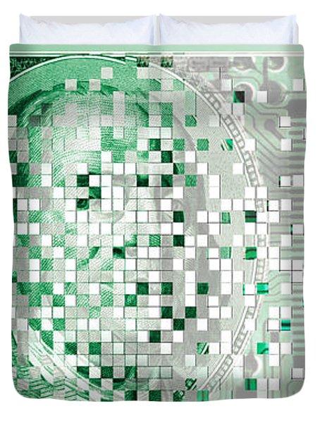 One Hundred Dollar Bill Turning Digital Duvet Cover